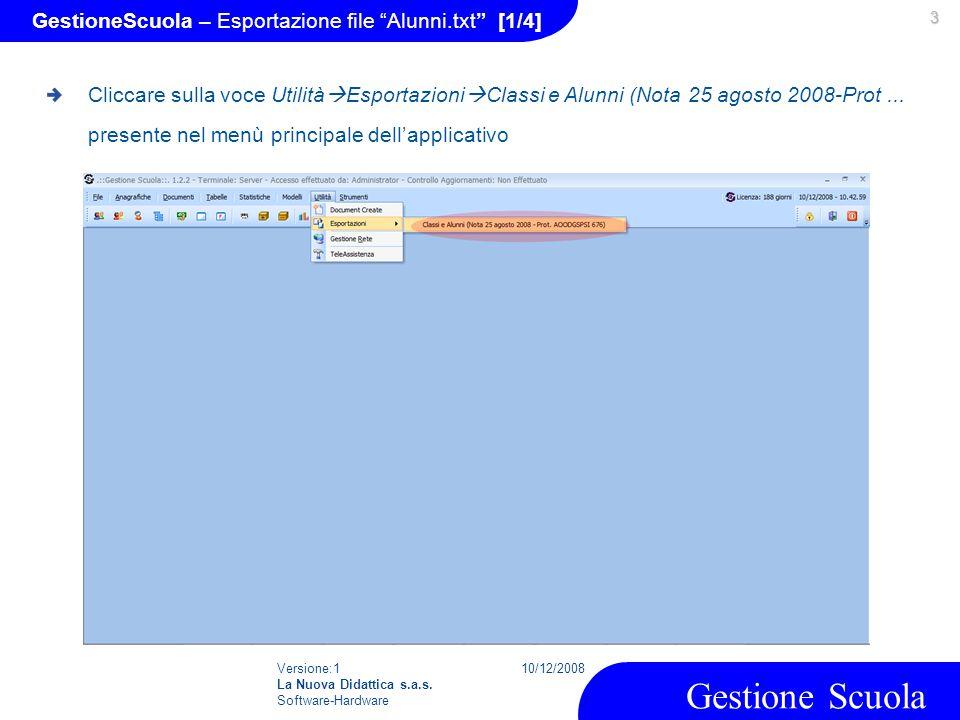 GestioneScuola – Esportazione file Alunni.txt [1/4]